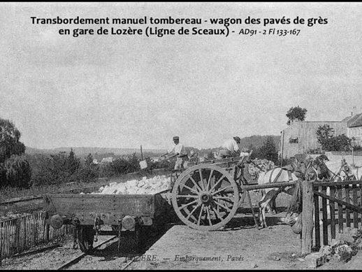Embarquement de pavés de grès en gare de Lozère