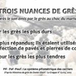 Mémoire de carriers - Trois nuances de grès : pif, paf, pouf !