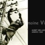 Agent des lignes téléphoniques sur poteau en 1960