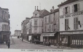 Place Saint-Léonard avant la guerre à Corbeil - Seine et Oise