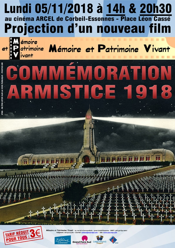Commémoration Armistice 1918 - Projection film MPV à Corbeil-Essonnes le 05-11-2018